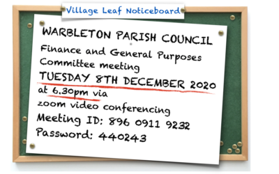 PARISH COUNCIL FINANCE (& G.P.) COMMITTEE MEETING Tuesday 8th December.