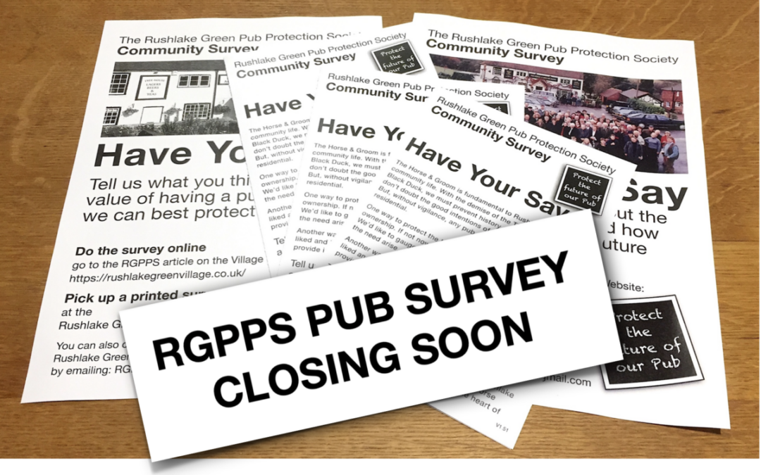 STILL TIME TO HAVE YOUR SAY ABOUT THE PUB